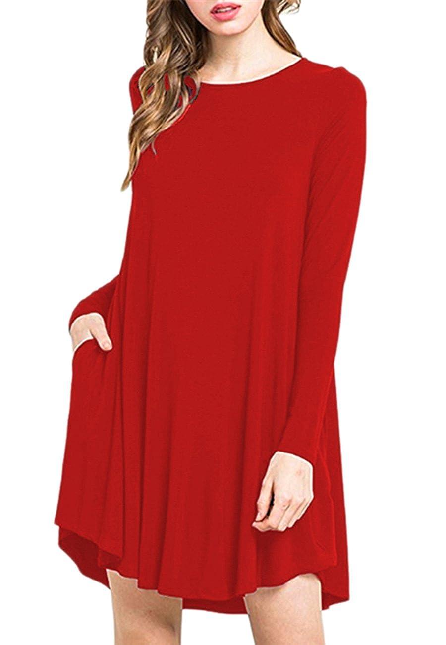 OMZIN Women Plus Size S-4XL Long Sleeve Loose Swing Casual T-Shirt Pockets Dress