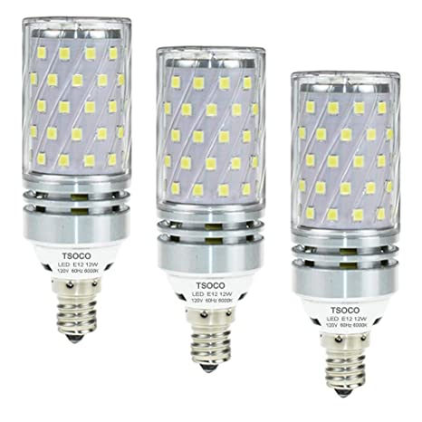tsoco LED bombillas, E12 bombillas, 12 W LED lámpara de araña bombillas 100 W