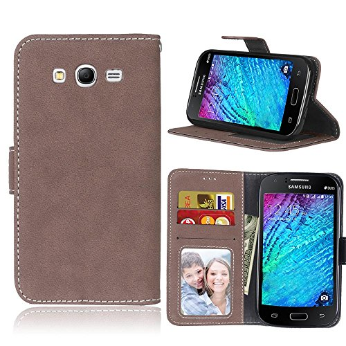 Phone Funda Case Cover Para Samsung Galaxy Grand Neo I9060, Estilo Retro Color Sólido Premium PU Cartera de cuero Caso Flip...