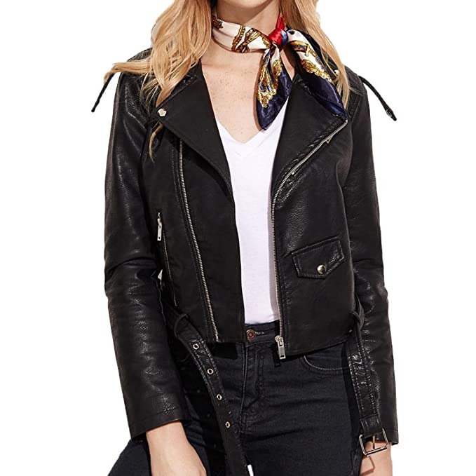 chaquetas invierno largos Sannysis cardigans cremalleras de cuero de imitación con bolsillo chaquetas mujer moto deportivas invierno baratos chaqueta de ...