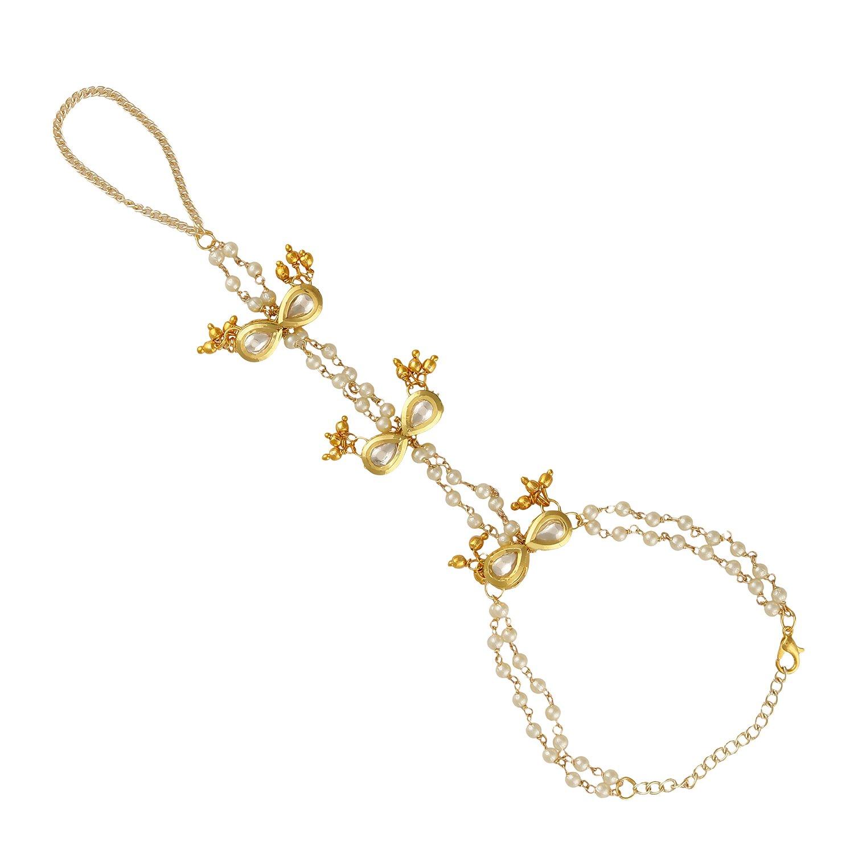 AccessHer gold, kundan hathphool/ring bracelet for women