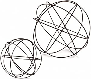Lone Elm Studios S/2 Wire Garden Spheres Home Decor, 20.1InL x 20.1InW x 20.1InH, Black