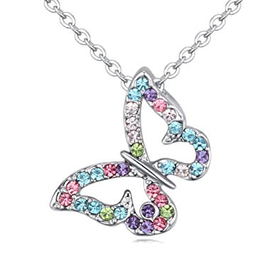 Crystalline Azuria Collier Papillon 18 carats plaqué Or Blanc avec Cristaux  Multicouleurs de Swarovski d5cb6b381975