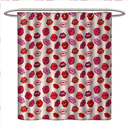 Anniutwo Kiss Shower Curtains Mildew Resistant Vivid Colored Sexy Lips Glamour Fashion Cosmetics Make Up Theme Girls Pattern Satin Fabric Bathroom Washable W72 x L84 Pink Red Rose Peach ()