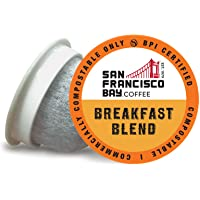 SF Bay Coffee Breakfast Blend 12 Ct Medium Roast Compostable Coffee Pods, K Cup Compatible including Keurig 2.0