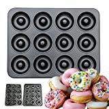 CHEFHUB 12 Cavity Non-Stick Mini Donut Pan, Dia=2'' Extra Thick Non-Stick Donut Pan, Mini Donut Maker, Baking Doughnut Mini Begal Cake Pop