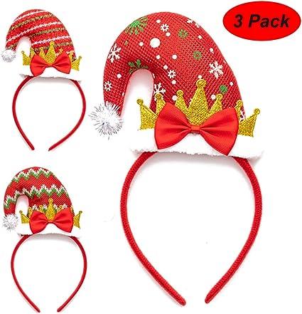 HALOFMEE Santa Claus Christmas Headband Snowman Hair Hoop Headwear Christmas Party Fancy Dress Pack of 4