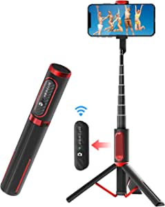 Selfie Stick Bluetooth, BlitzWolf Lightweight Aluminum All in One Extendable Selfie Stick Tripod with Wireless Remote for iPhone Xs MAX/XR/XS/X/8/8P/7/7P/6s/6, Galaxy S10/S9/S8/S7Note 9, Huawei, More
