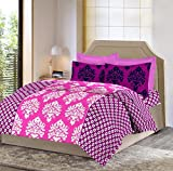 Bombay Dyeing Celiosa 120 TC Cotton Double Bedsheet with 2 Pillow Covers - Pink