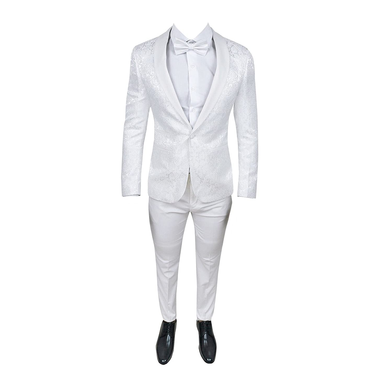 Alta sartoria Abito Uomo Smoking Damasco Damascato Cerimonia Super Slim Giacca Pantalone Bianco (Calza Stretto 1-2 Taglie in Meno)