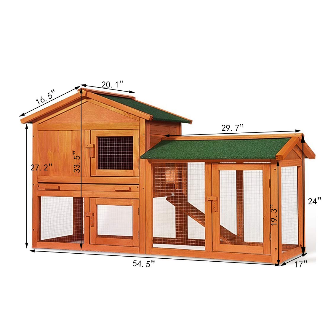 P PURLOVE Wood Bunny Hutch 54'' Large 2 Story Outdoor Bunny House with Removable Tray & Ramp, Backyard Garden Rabbit Cage/Guinea Pig House/Chicken Coop Nesting Box for Small Animals by P PURLOVE (Image #5)