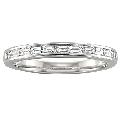 Amazon.com: Platinum Baguette Diamond Bridal Wedding Band Ring (1/2 ...