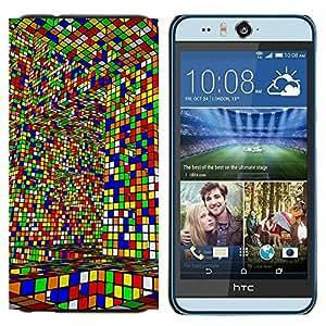 EJOOY---Cubierta de la caja de protección para la piel dura ** HTC Desire Eye M910x ** --Game Cube colorido Arte Diseño Layrinth Interior