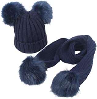 aa42312778386d Happy Cherry Baby Winter Hat Scarf Lovely Warmth Baby Girls Boys Scarves Hat  Set (2