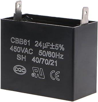 Generator Capacitor CBB61 Starting Run Capacitor Capacitor Generator 450V AC 24uF 50//60Hz for 400//350//300//250VAC UL//RU Listed Motor Capacitor