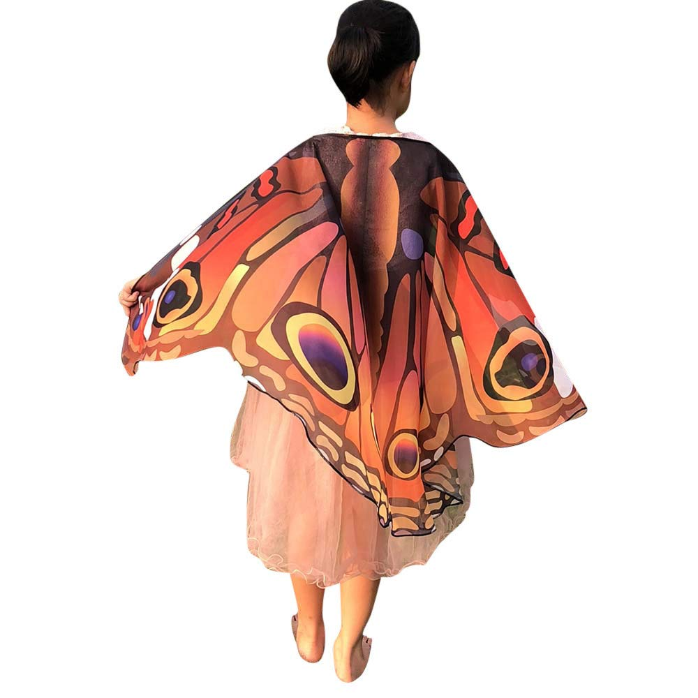 iDWZA Children Kids Butterfly Wings Shawl Scarves Wrap Capes Costume Accessory(14670cm,Coffee-1)