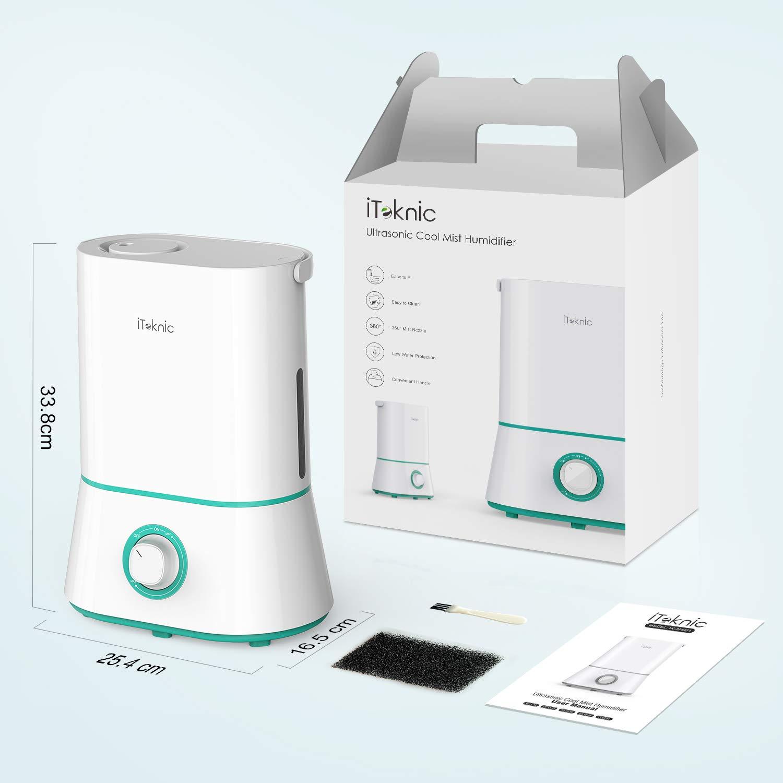 iTeknic Humidificador Ultras/ónico Depositivo de Agua de Gran Capacidad para Dormitorio Beb/és Hogar y Oficina