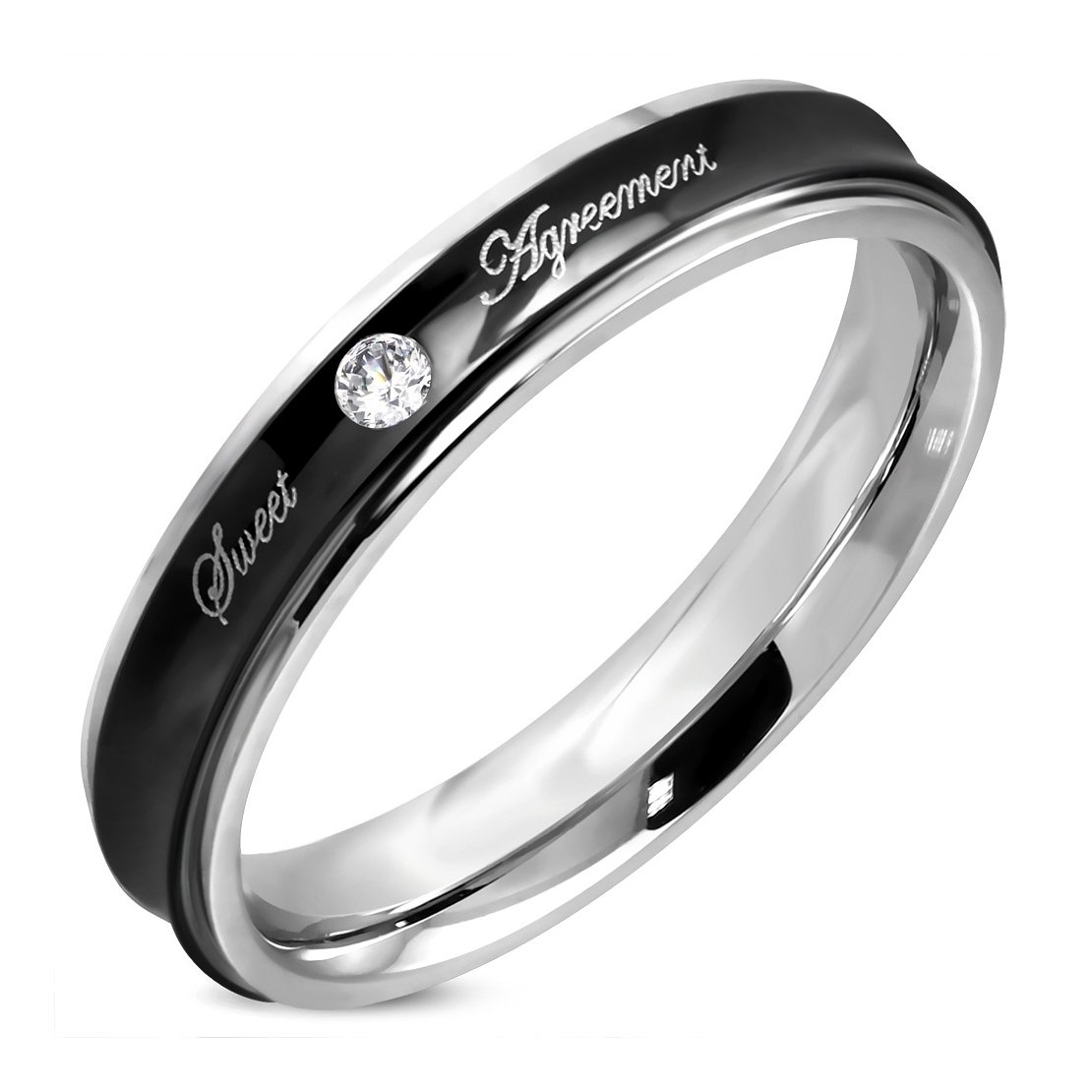 Stainless Steel 2 Color Sweet Agreement Love Concave Comfort Fit Wedding Band Ring with Clear CZ