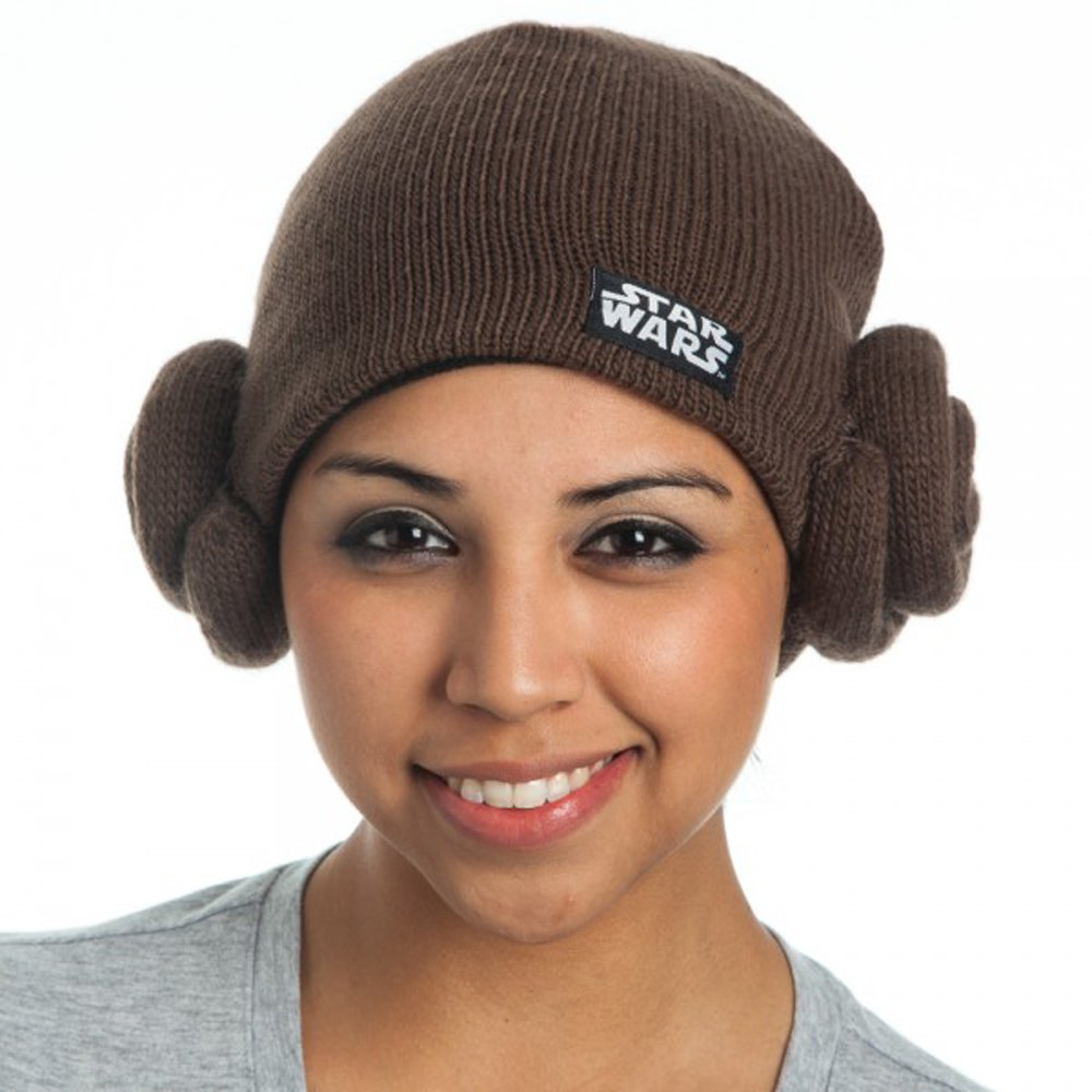 d70c338ee Star Wars Leia Buns Knit Hat Brown