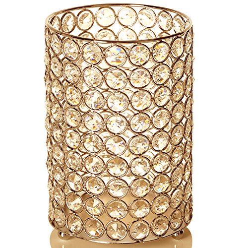 VINCIGANT Gold Cylinder Crystal Vase/Candle Holders for Dinning Room Coffee Table Centerpieces with Multi Colored Starry String Light,Gift for Wedding/Anniversary/Housewarming,7.8 Inches Tall (Gold Multi Colored Crystal)