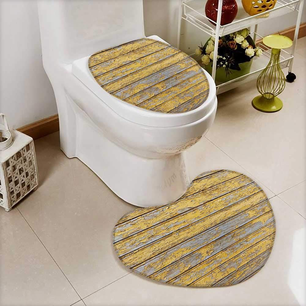 also easy Toilet Heart shaped foot pad red barn wooden wall planking horizontal texture old retro wood slats Washable Non-Slip