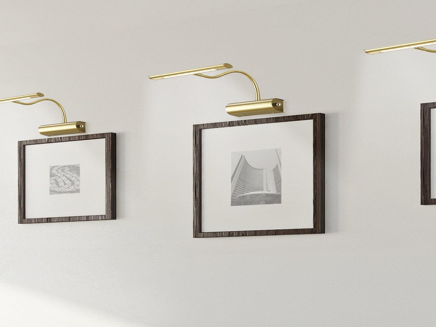 2er Set Klassische LED Bilderleuchten flexibel Spiegelleuchte in Messing dimmbar