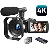 """Video Camera 4K Camcorder Vlogging Camera with Microphone YouTube Camera Recorder Ultra HD 30MP 3.0"""" IPS Touch Screen with Le"""