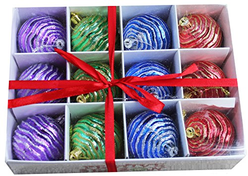 12pk 60mm Shatterproof Multicolor Ripple Christmas Ball Ornaments/Decorations with Storage Box