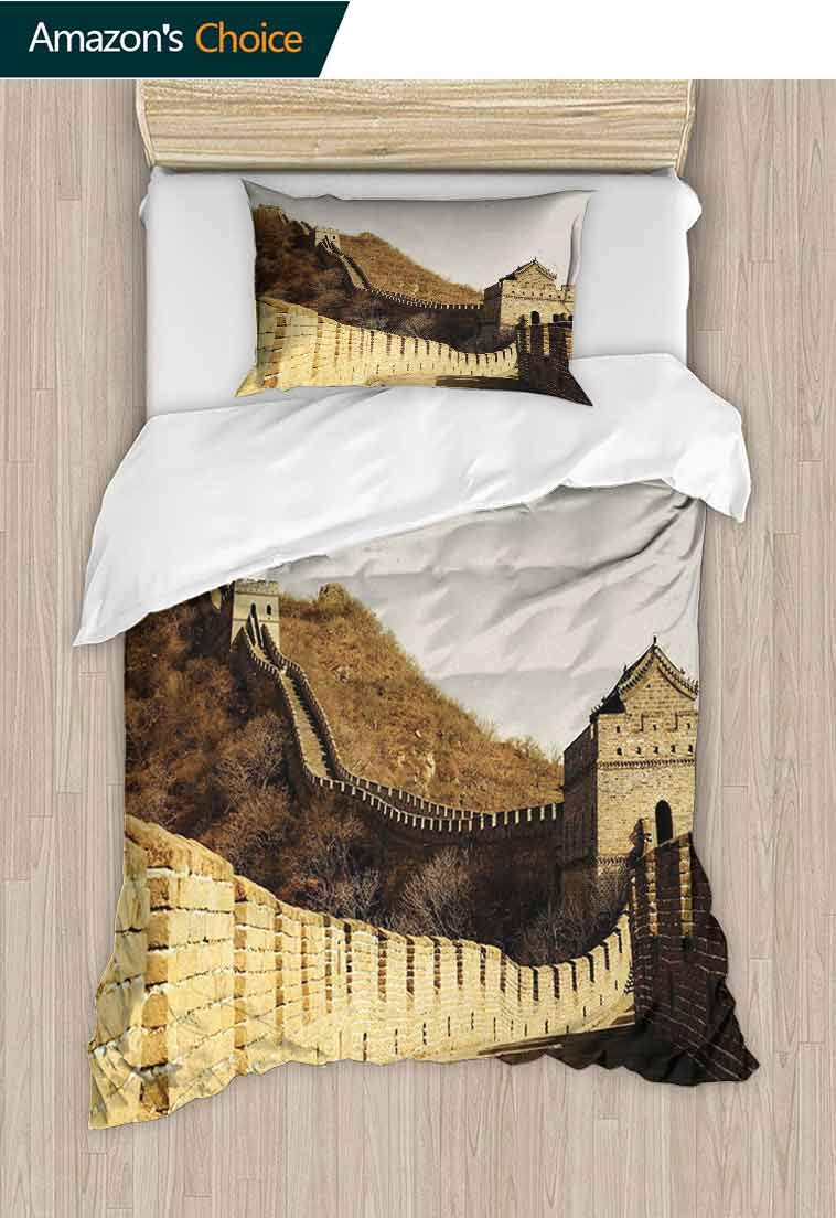 Great Wall of China Custom Made Quilt Cover and Pillowcase Set, Ancient Stone Borders on Mountains Famous Historic, Print, Decorative Quilted 2 Piece Coverlet Set with 1 Pillow Shams, Sepia