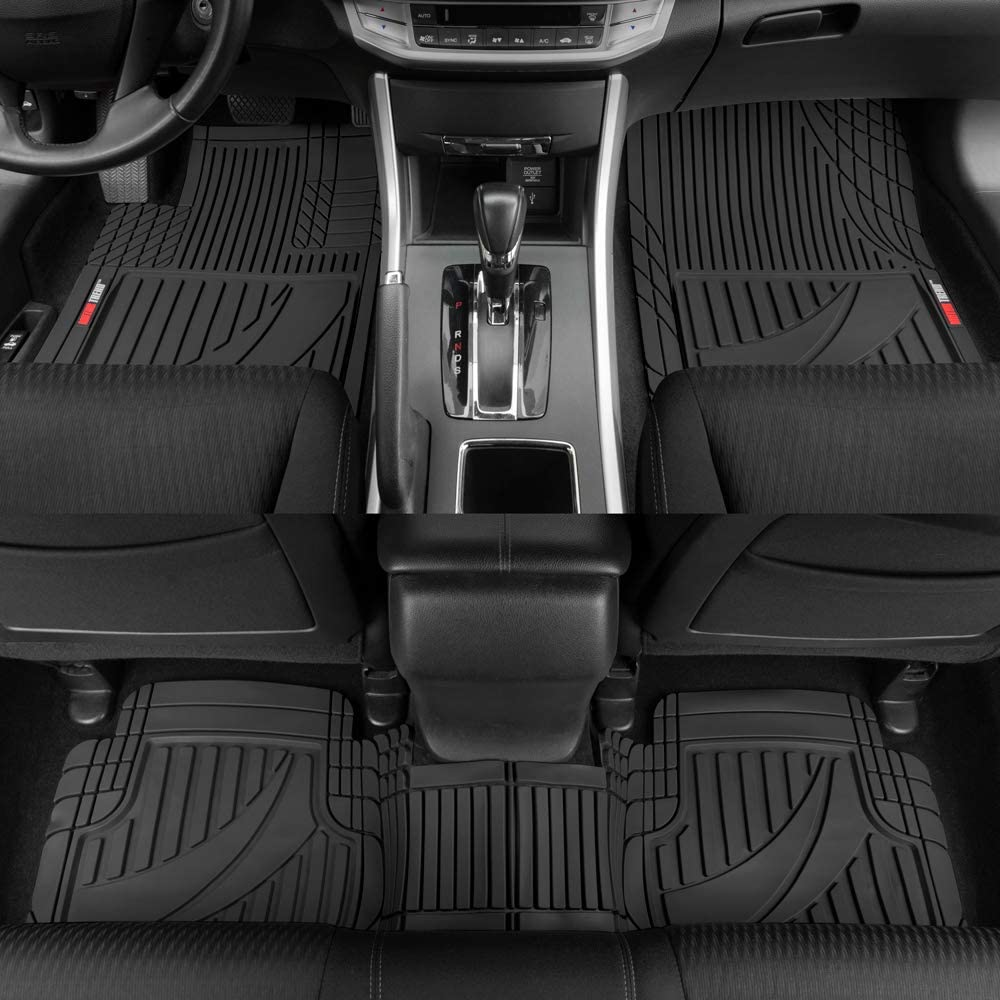 CAR PASS Universal Fit PVC Leather Car Floor Mats Black with Red, Medium Size Anti-Slip for Suvs,Vans,Trucks,Pack of 4