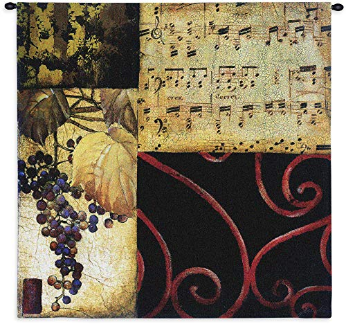 Autumn Waltz II | Woven Tapestry Wall Art Hanging | Contemporary Fall Collage with Grapes and Sheet Music | 100% Cotton USA Size 53x53