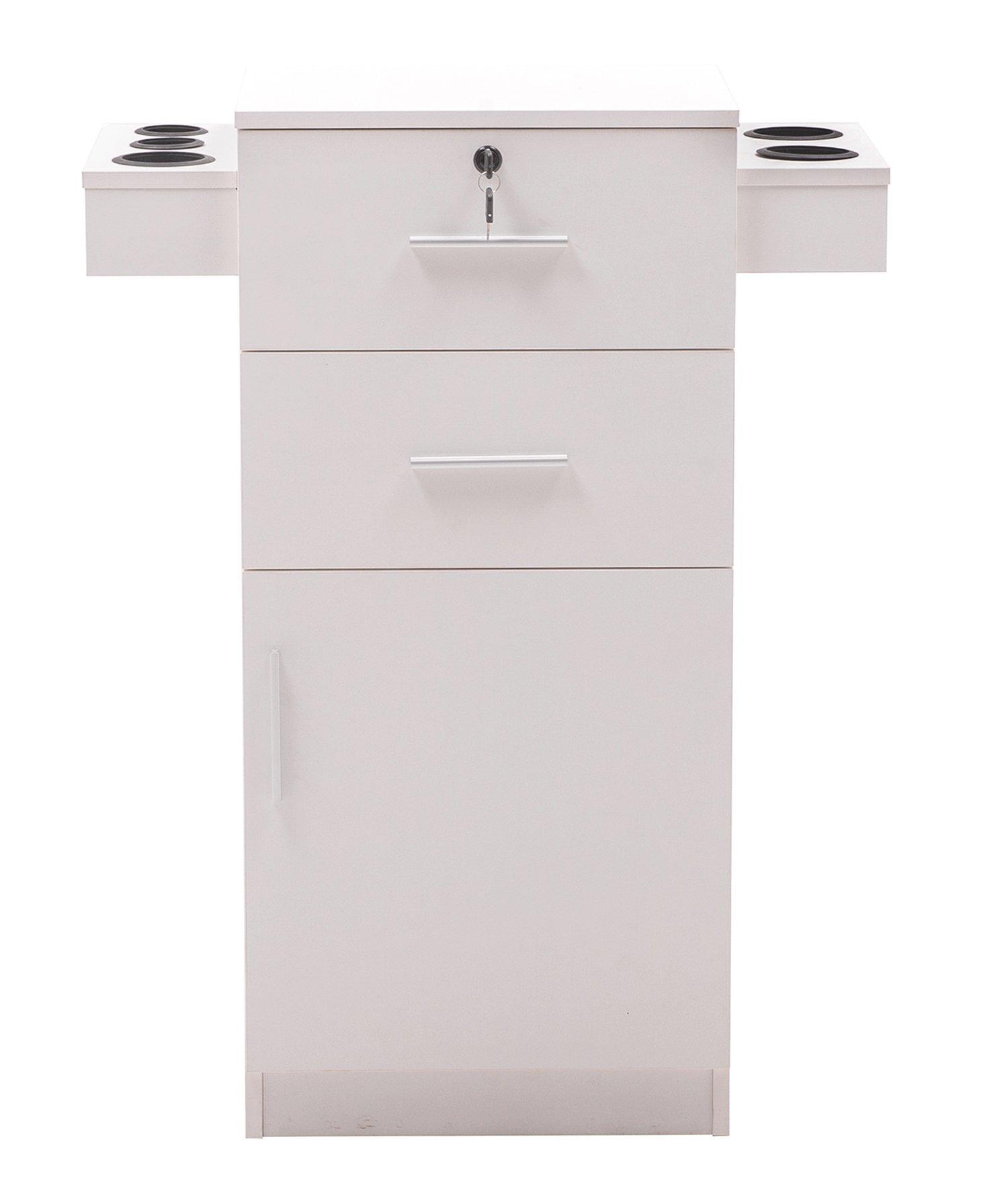 BarberPub Locking Beauty Salon Storage Hair Dryer Holder Stylist Equipment Drawer 2021 (White)