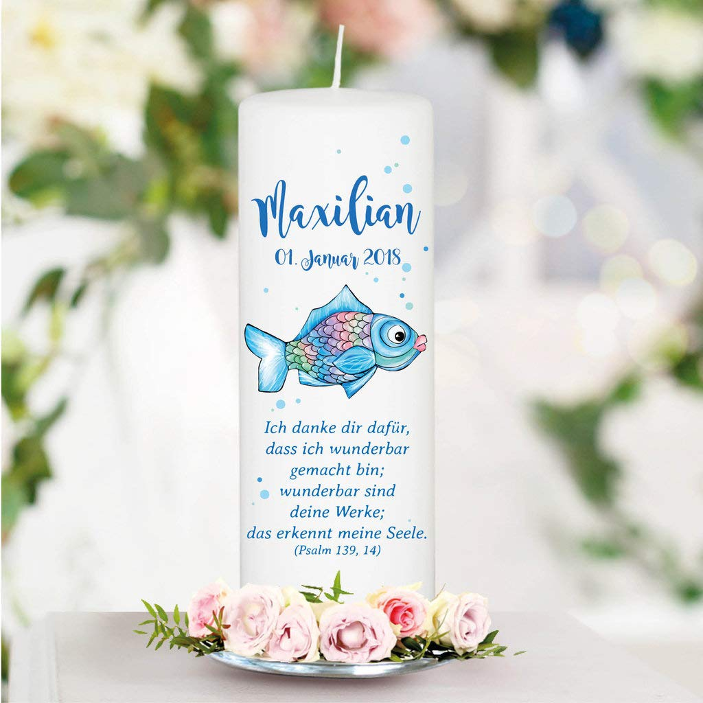 Kerze zur Taufe Geburt oder Kommunion Taufkerze Blauer Regenbogen Fisch mit Wunschdaten 25 x 8 cm//ohne Patenkerze//Junge mit Taufspruch wie abgebildet