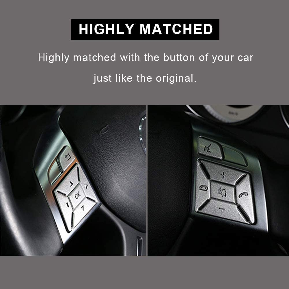 Inner Car Steering Wheel Button Trim Cover Aluminum Alloy Decoration Stickers Replacement For Mercedes Benz ML GL GLK GLA CLA CLS SL A B C E G Class Interior Accessories 12pcs
