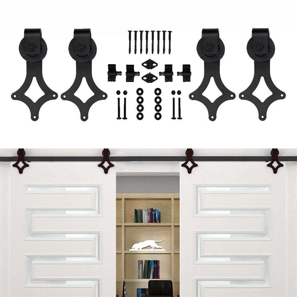 KIRIN Household Decor Door Hardware Heavy Duty Rhombus Shape Double Wood Doors Barn Door Hardware (14FT)