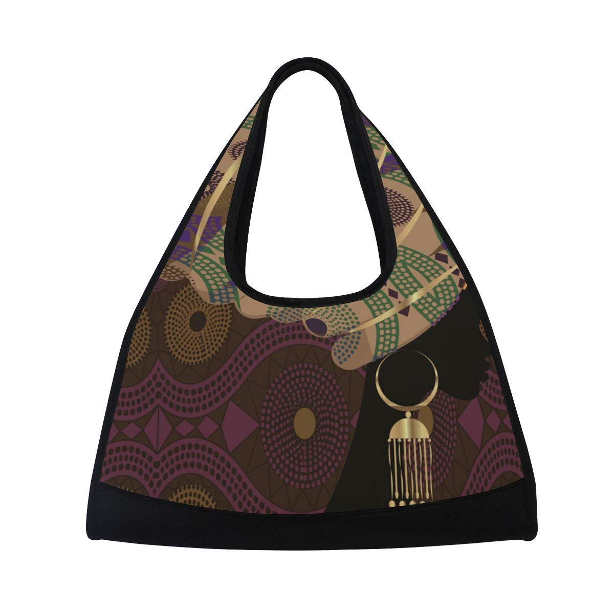 Gym Bag Sports Holdall African Woman Canvas Shoulder Bag Overnight Travel Bag for Men and Women