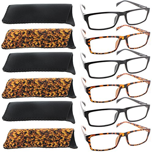 Reading Glasses - 6 Pack - 3 Black & 3 Tortoise For Men and Women - Stylish Look and Crystal Clear Vision - Comfort Spring Hinges & Dura-Hex - Glasses What Me Look Good On