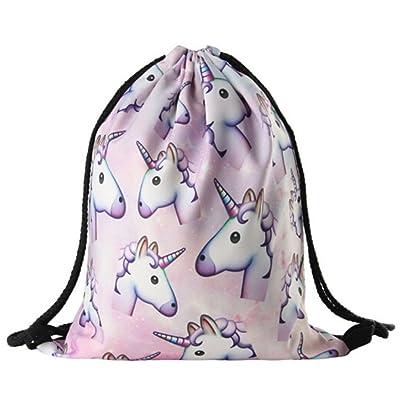 new Dolland 3D Unicorn Print Drawstring Backpack Rucksack Shoulder Bags Gym Bag
