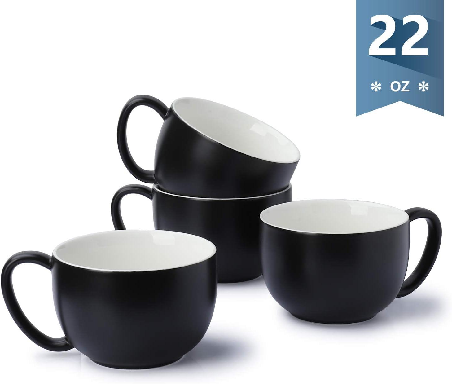 Sweese 613.114 Coffee Mug - 22 oz Jumbo Soup Bowl and Cereal Mugs, Set of 4, Matte Black