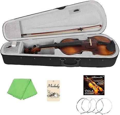 Kalaok VLA-30 4/4 Tamaño completo Classic Viola Spruce Topboard Diapasón de palisandro con estuche de transporte Resina Cuerda de limpieza Cuerdas de violín: Amazon.es: Instrumentos musicales