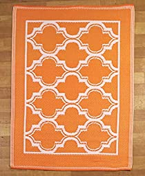 Bright Summer Lattice Mosaic Indoor Outdoor Patio Floor Rug Mats (orange)