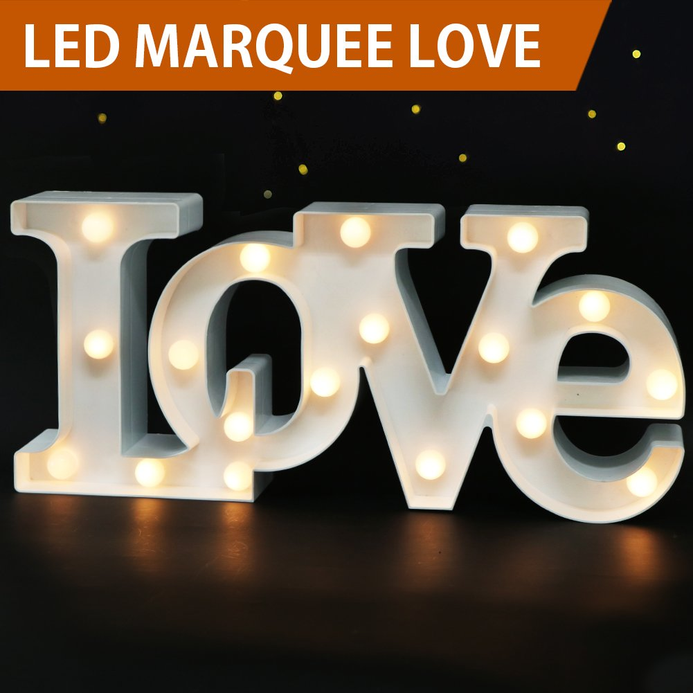 Bright Zeal 7'' Tall Large LED Love Marquee Sign Letters (White, 6hr Timer) - Love Signs Decor Wedding Signs - Light Up Letters for Wall Decor Battery Operated -Letter Decor for Table Decor for Party