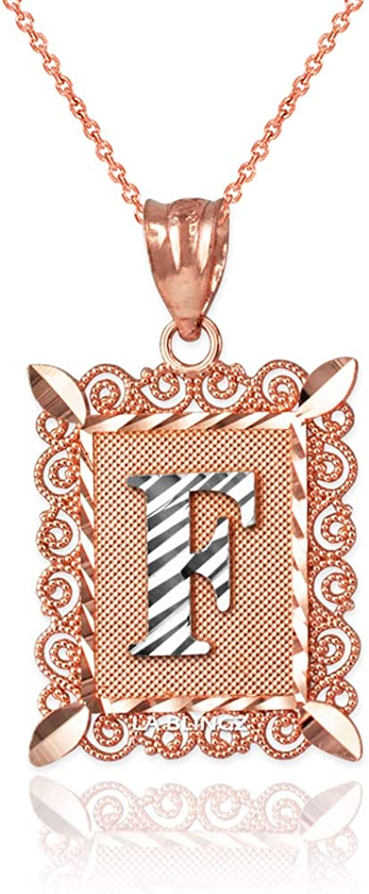 LA BLINGZ 10K Rose Gold Filigree Alphabet Initial Letter C DC Charm Necklace
