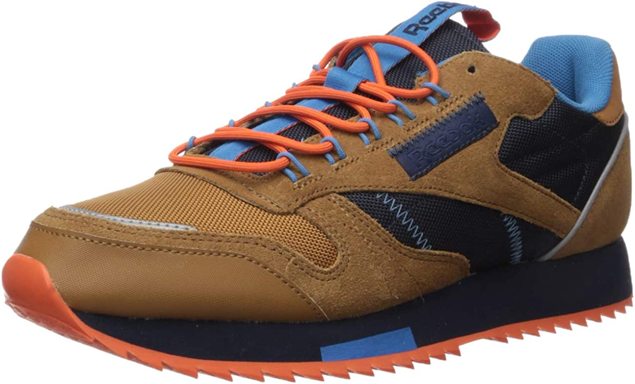 Reebok Men s Classic Leather Sneaker, Brown Navy Cyan, 9.5 M US