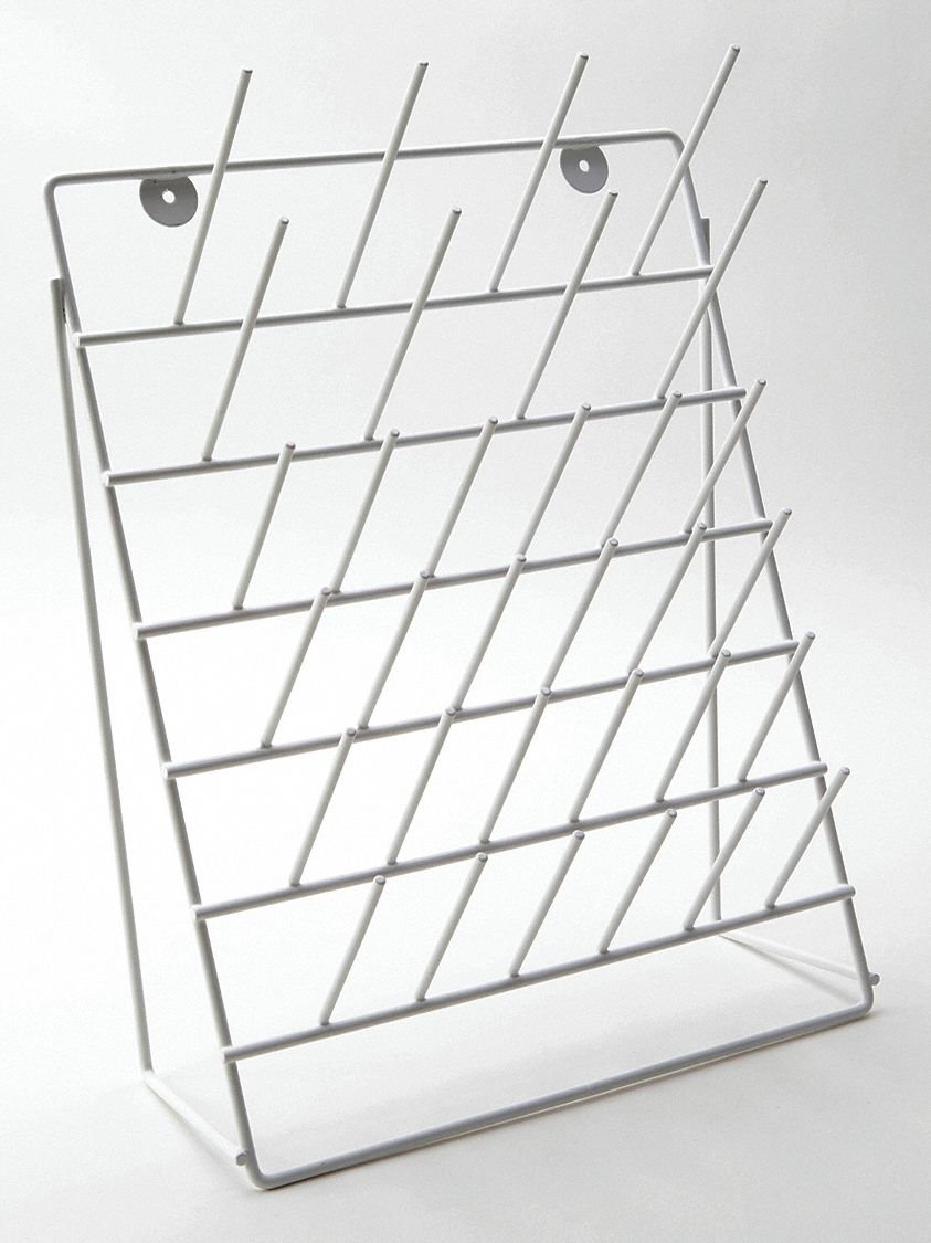 Drying Rack,Steel,White,Angled,32 Pegs