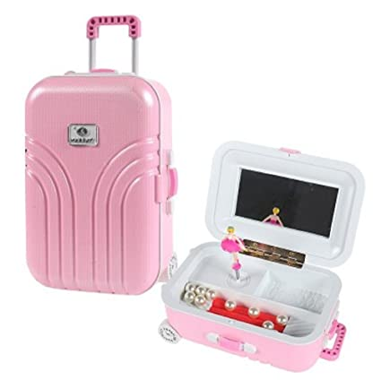 Amazon.com: Girls Draw-Bar Suitcase Music Box Musical Jewelry Storage Home Decor With A Dancing Girl,Pink: Kitchen & Dining