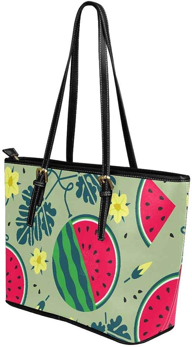 InterestPrint Ripe Watermelon Pattern Tote Bags Zippered Tote for Women Overnight HandBags