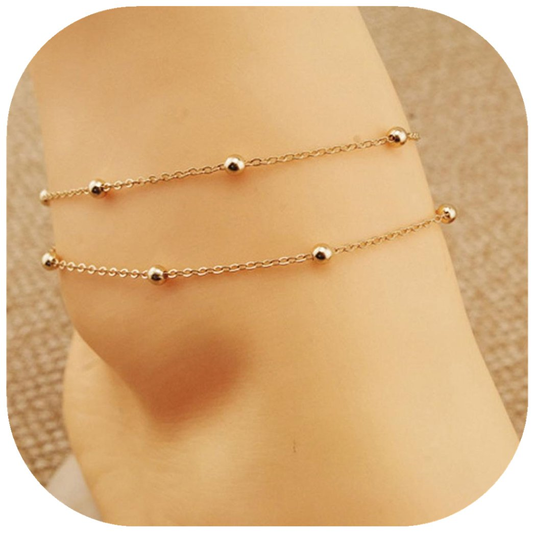 Molyveva Lucky Beads Pendant Twisted Rope Chain Anklet Gold Plated Foot Chain Old Tree Store