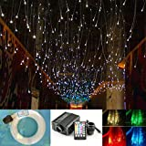 16W Star Ceiling Light Fiber Optic Kit, 28 Keys Sound Sensor Music Mode RGBW Remote + Mix 335pcs Fibre Optical (0.75mm+1mm+1.5mm) 9.8ft/3m Long