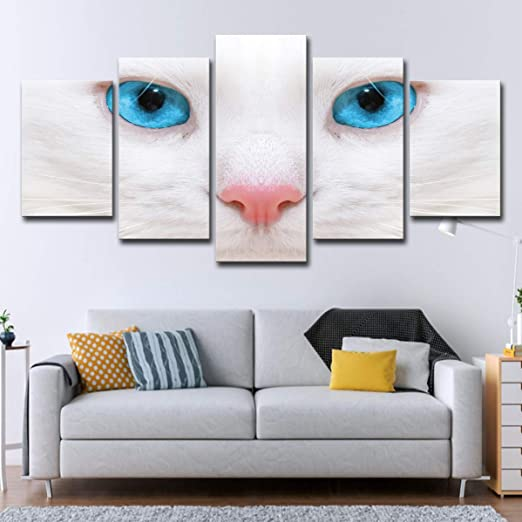 I Two White Cats With Blue And Yellow Art Print Home Decor Wall Art Poster